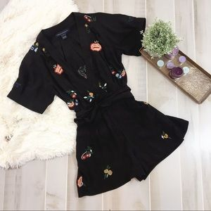 French Connection Black Tied Waist Silk Romper